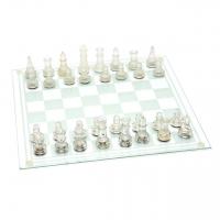 Скляні шахи сувенірні дошка зі скла великі GJ01M