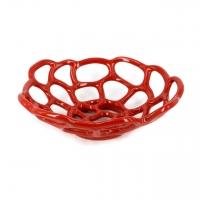 Фруктовница керамическая красная 898-2