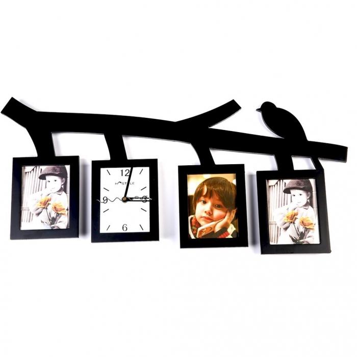 Настенные часы мультирамка коллаж на 3 фотографии T2033 Decos