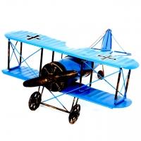 Модель двух крыльного самолета биплана синий 819B Decos