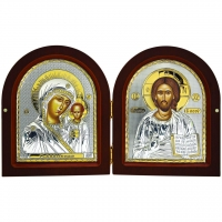 Икона Диптих Иисуса Христа и Казанской Богоматери EP4-001DG/P Silver Axion