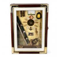 Настінна ключниця з дерева з годинником в морському стилі S35625A-Ym