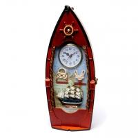 Настенная ключница с часами Парусный корабль 0035G