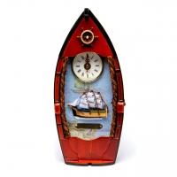Незвичайна ключниця настінна з годинником Корабель 30714A