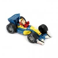 Копилка автогонщик на ретро автомобиле формулы 1 желто-синяя 3F8203 Decos