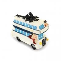 Копилка для денег Туристы на автобусе белая 3F8217А