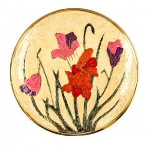 Тарелка настенная декоративная декупаж Цветы 3275