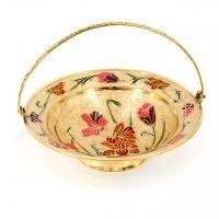 Оригінальна ваза для цукерок з металу декупаж Квіти 3274 Brasstico
