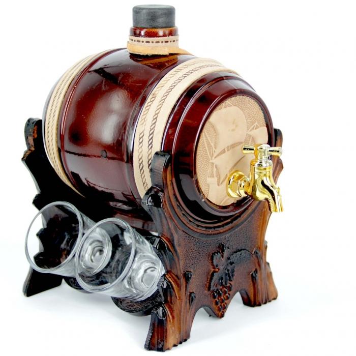 Бар-бочка для алкоголя со стопками Корабль 102-VAB