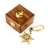 Брелок штурвал в деревянной шкатулке NI015A Two Captains