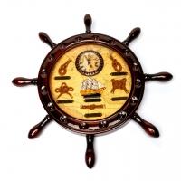 Настінний годинник штурвал в морському стилі 009С Two Captains