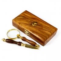 Набір NI153A лупа, ніж в дерев'яній коробці