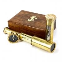Сувенирный набор подзорная труба, магнитный компас, песочные часы NT.5258 Two Captains