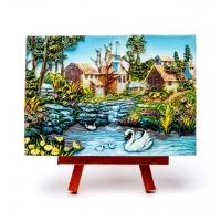 Картина пейзаж Лебеди в пруду КОП-2-13