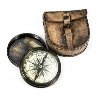 Магнитный компас в кожаном футляре в античном стиле NI148L