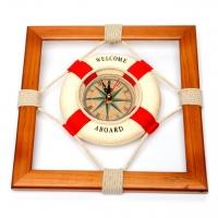 Часы  спасательный круг в деревянной рамке K014