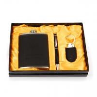 Подарочный набор фляга из кожи прессованной ручка брелок F119