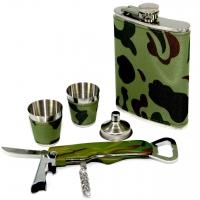 Подарунковий набір з флягою для алкоголю Камуфляж A132