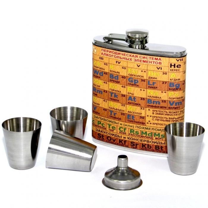 Фляга для спиртного Периодическая система алкогольных элементов A134 Hip Flask