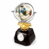 Глобус з годинником сувенір з рукостисканням подарунковий XL616А Albero Ode