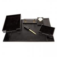 Настольный набор для руководителя из кожи прессованной черный KP107 Albero Ode