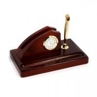 Часы настольные деревянные с подставкой под визитки и ручку D935-101