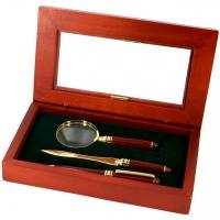 Письменный набор руководителя с лупой и подарочной ручкой S73-101 BLG