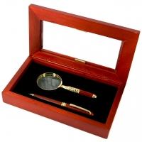 Ручка для письма подарункова і кишенькова лупа D73-269 BG