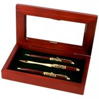 Пір'яна подарункова ручка, кулькова і ніж в для конвертів S73-269 FBL