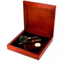 Набір кулькова подарункова ручка, лупа, настільний годинник S90-03