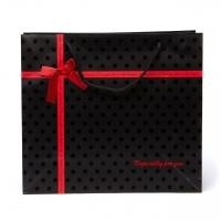 Пакет бумажный 30,5*27*12 С77 черный с красной лентой