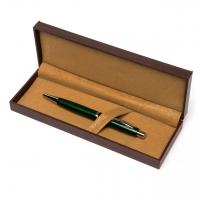 Подарочная ручка шариковая в футляре под дерево зеленая В-013G