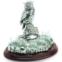 Набор для водки на 6 рюмок с декором статуэтки сова Chinelli