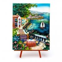 Картина об'ємна морський пейзаж Вітрильник в гавані моря КОП-3-08