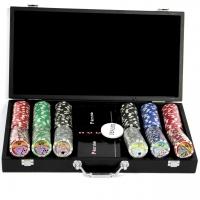 Покерний набір на 300 фішок з номіналом і пластикові карти Poker Club