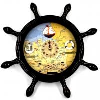 Настенные часы штурвал в морском стиле HB014D Two Captains
