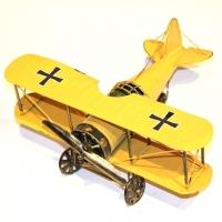 Модель двух крыльного самолета биплана желтый 819A