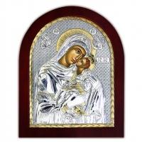 Икона Божьей Матери Сладкое Лобзание EP4-002XAG/P Silver Axion