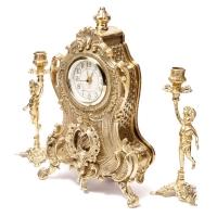 Каминные часы и 2 подсвечника для 1 свечи Bambino 02-80.325