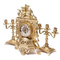 Каминные часы и 2 подсвечника на 3 свечи 82.101-80.410