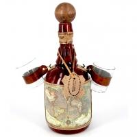 Мини бар бутылка со стопками Старинная карта 659-MO