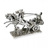 Статуэтка колесница с лошадьми и воином PL0134Y-13