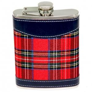 Фляга для виски и бурбона Красная  клетка 8 унций A144-8B