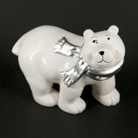 Статуэтка белый медведь с шарфом HY09A037-2