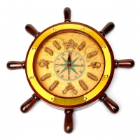 Настінний годинник з морською тематикою у вигляді штурвала 014-800 Two Captains