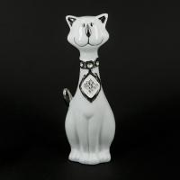 Статуэтка кот сидящий белый HY21095-2