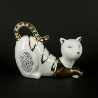Статуэтка белая кошка со стразами HY21248-w