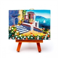 Картина объемная морской пейзаж Дома у моря КОП-1-06