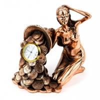Статуетка Фортуна з рогом достатку настільний годинник T1333 Classic Art