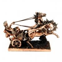 Статуэтка колесница в упряжке из коней и воин T697 Classic Art